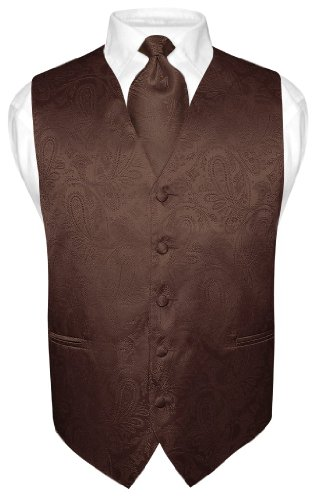 Vesuvio Napoli Men's Paisley Design Dress Vest & NeckTie BROWN Color Neck Tie Set sz ()