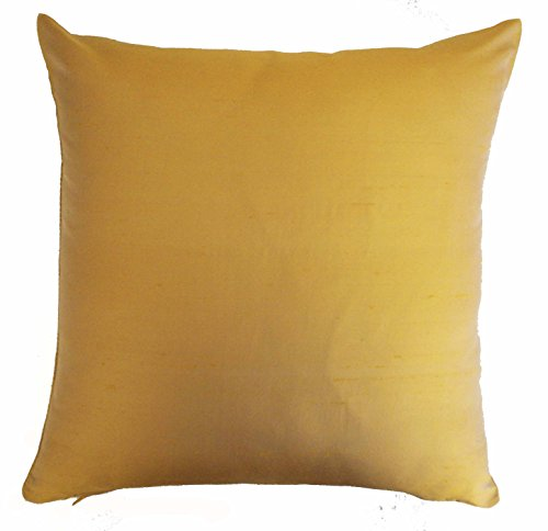 Silk Throw Pillow Cover Gold 15x15 inch Pack of 2 100% Pure Silk Dupioni Cushion - Pillow Silk Dupioni Cover