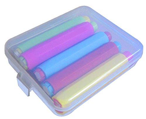 Lunies Chalk Holder with Storage Hard Case - Blackboard Adjustable Chalk Clip Set (3.7 x 0.6 Inch), 5 Bright Color by Lunies (Image #1)