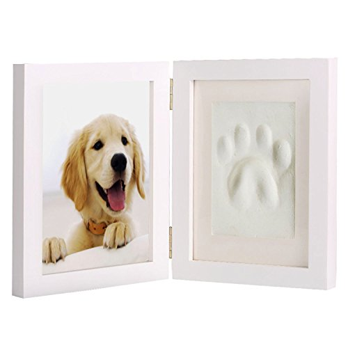 Paw Prints Photo (Bamboo's Grocery Dog and Cat Paw Print Pet Keepsake Photo Frame with Clay Imprint Kit, 9.8