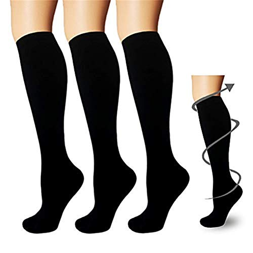 3 Pairs Upgraded Knee High Graduated Compression Socks Athletic & Medical For Women & Men, Sports, Nursing, Running, Athletic, Edema, Diabetic, Varicose Veins, Travel, Pregnancy & Maternit