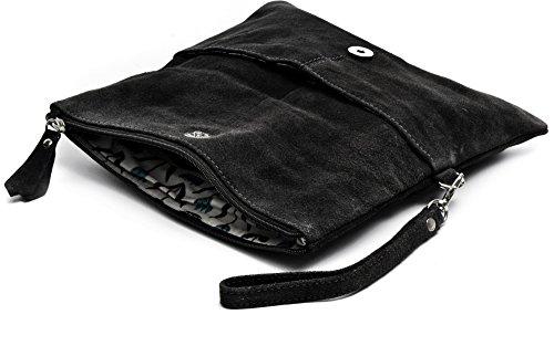 CNTMP - bolso para señora, clutches, clutch, bolsos de mano, bolsos, bolsos de fiesta, bolsos de tendencia, gamuza, ante, bolso de cuero (grande, negro), 32x17x2,5cm (l x an x a)
