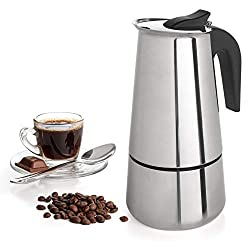 9 Cup Coffee Maker Stovetop Espresso Coffee Maker Moka Coffee Pot with Coffee Percolator Design Stainless Steel - by Mixpresso (15 Ounces,)