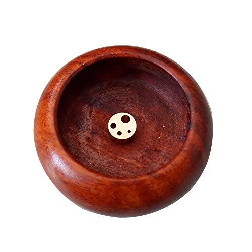 ZeeStar Mini Round Wooden Holder Incense Burner Ash Catcher/Buddhist Supplies Bowl (red)