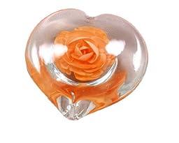 M Design Art Handcraft Glass Orange Heart Handcraft Paperweight Paperweight