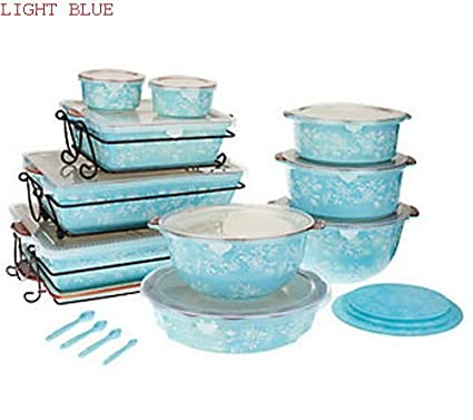 Amazon.com: Temp-tations Floral Lace 24-piece Oven-to-table Set, Lt ...