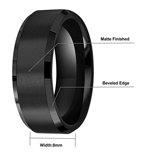 6mm 8mm 10mm Black Tungsten Wedding Band Ring Men Women Matte Finish Beveled Edges Comfort Fit Size 5 To 17 (8mm,10.5) by CROWNAL (Image #3)