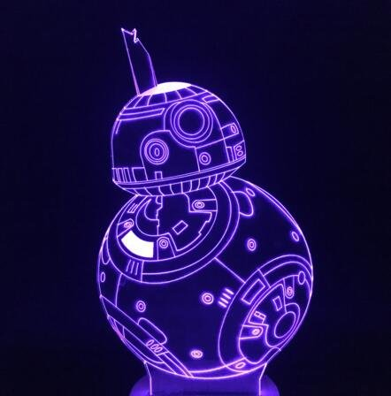 3d Lamp Star Wars Robot BB-8 BB8 3D Touch Lamp Touch Dimming Desk Table Led Lamp Perfect Nightlight Awesome present for kids (Color Multicolor)