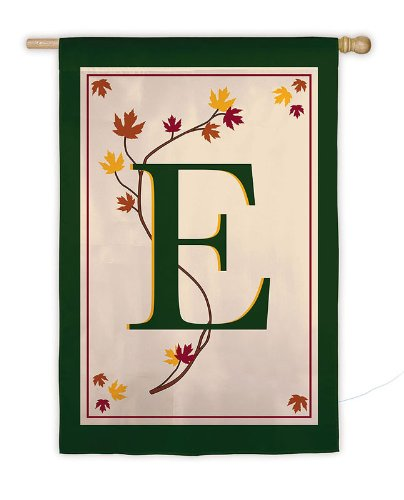 Sized Monogram Flag - Garden Sized Monogram Flag: Fall Leaf - E