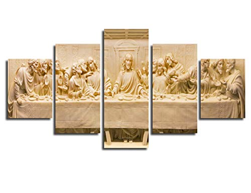Chicicio Last Supper Wall Decor Jesus Marble Relief Poster Frame Wall Art Canvas Prints Living Room Decor Pictures Painting Contemporary Artwork Bedroom Decoration Ready to Hang(50''Wx26''H)