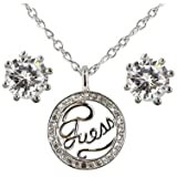 Guess UBS11105 Ladies Pave Ring IP Necklace and Earrings Silver Set