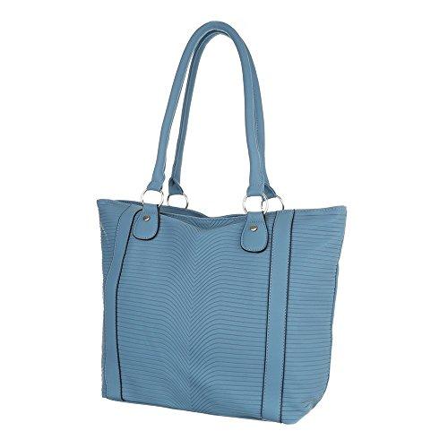 Ital-Design - Bolso de asas de Material Sintético para mujer azul claro