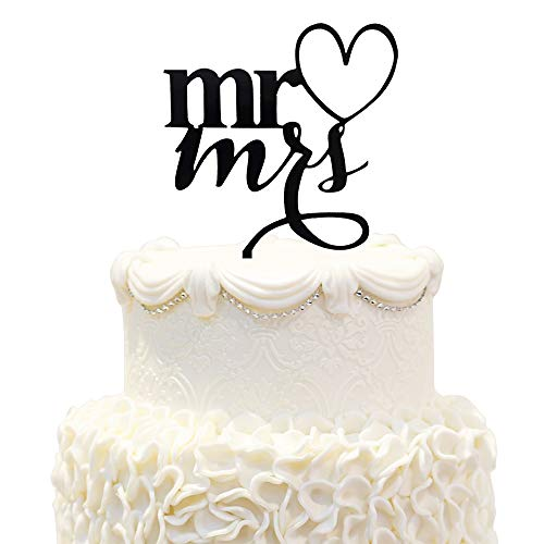 (Mr&Mrs Drunk In Love Black Acrylic Cake Topper Couple Bride&Groom Wedding Party)