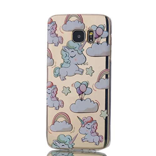 KSHOP Accessory for Samsung Galaxy S7 Edge Case Cover Bumper Shell Soft TPU Silicone Transparent Clear Ultra Slim Skin Shell Anti-scratch Protective Bumper-Unicorn and Balloon