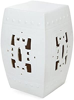 Square Hook Garden Stool - White