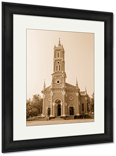 Ashley Framed Prints Saint Joseph Catholic Church, Wall Art Home Decoration, Sepia, 35x30 (frame size), Black Frame, AG6535285 by Ashley Framed Prints