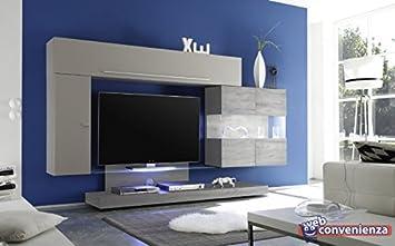 Web Convenienza Line 8 B Beige Matt Und Eiche Grau Moderne Wohnwand  Wohnzimmer TV