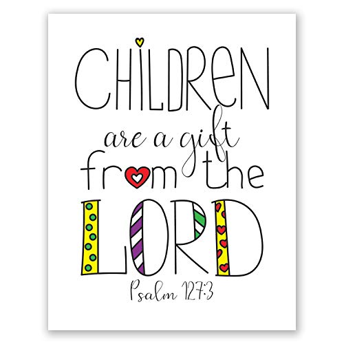 8x10 Children Church Decoration Print // Psalm 127 3 // Christian Wall Decor // Sunday School Classroom Wall Art Poster // Children are A Gift From The Lord
