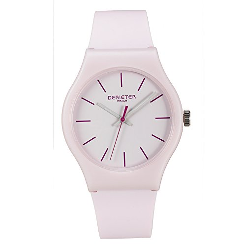 Teenager Plastic Quartz Watches Boys Girls Unisex Silicone Strap Plastic Waterproof Youth Student Wrist Watch (Light Pink)
