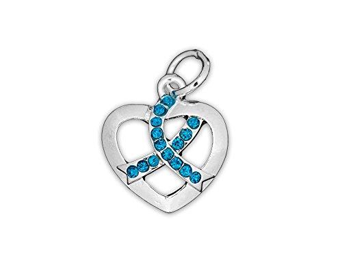 (Crystal Teal Ribbon Awareness Heart Charm (Retail))