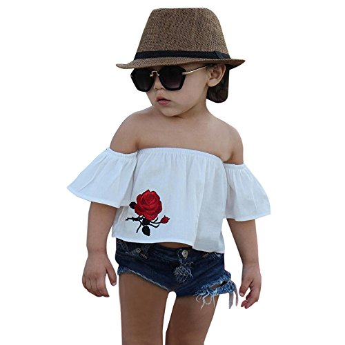 [Willsa Baby Girl Off Shoulder Rose Printed T Shirt Top + Shorts Hollow Out Jeans Outfits Set (2T, White)] (Greaser Girl Outfits)