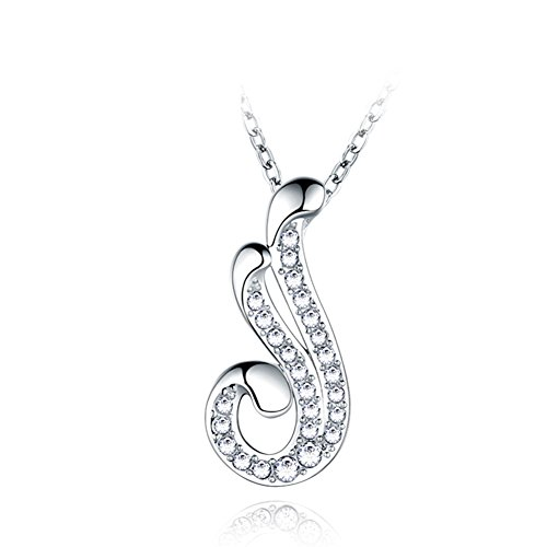 Feather Necklace Pendant/925 Silver Plated Platinum, Golden Bone Chain/Japanese And Korean Jewelry Accessories Jewelry-A