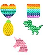 NARAVAR 5 Pack Pop in It Fidget Toy Pack Its   Push Bubble Sensory Poppets Fidgets It's Rainbow Poppit Poppet Under Popitsfidgets Asmr Poppits Popers Popitz Poppers with Popping Toys