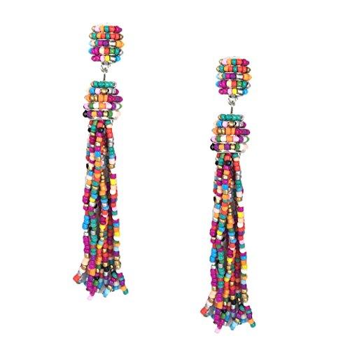 (B Jewelry Collection Allegra Beaded Tassel Drop Earrings, Multi)