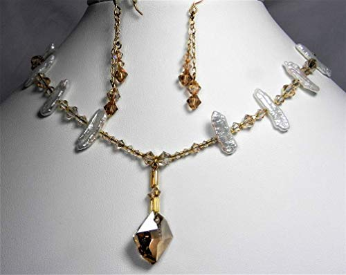 Swarovski Crystal and Cultured Stick Freshwater Pearl Jewelry Set with Avant Garde Pendant