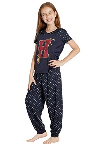 HARRY POTTER 'H Mrs Weasley Hogwarts' Christmas Holiday Athletic Jogger Pajama Set, Navy, XS -