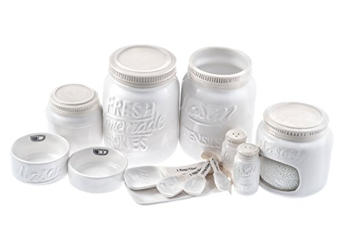 White Ceramic Kitchen Mason Jars - 7-Piece Vintage Kitchenware Set - Measuring Cups, Measuring Spoons, Spoon Rest, Salt & Pepper Shakers, Sponge Holder, Cookie Jar, and Utensil Crock by Goodscious