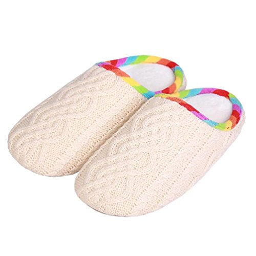 YUTIANHOME Ladies Slippers Womens Washable Non-Slip Flat Closed Toe Indoor Shoes With Knitted Upper Beige zq4Kn9Hv