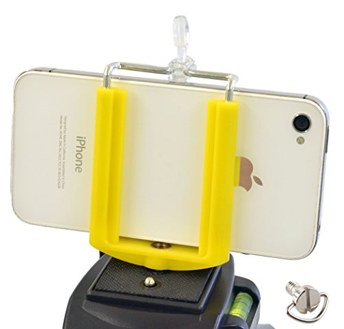 Price comparison product image DaVoice Cell Phone Tripod Mount Adapter Holder Clamp Compatible with iPhone X Se 8 7 6 6s Plus 5 5s Samsung Galaxy S9 S8 S7 S6 S5 Edge Adjustable Smartphone Bracket Clip Cellphone Attachment (Yellow)