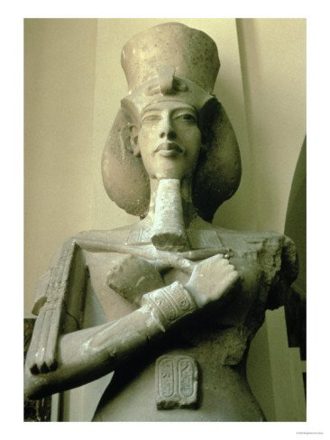 Colossal Statue of King Akhenaten Detail of Head and Upper Torso, New Kingdom Giclee Print Art (12 x 16 in)