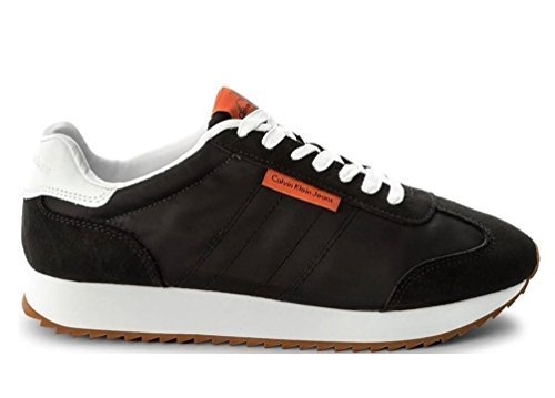 Calvin Klein Gráfico Nylon/Ante, Zapatillas de Deporte Suela Hombre 39 EU|Negro