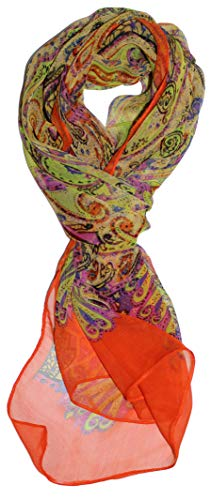 Ted and Jack - Pretty Chiffon Silk Blend Graphic Scarf (Orange Blossom)