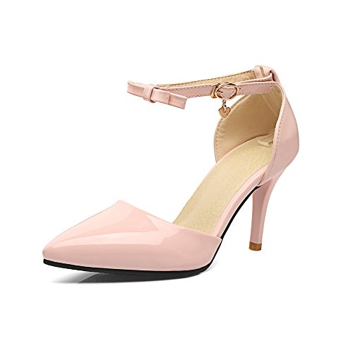 Pumps Toe Buckle Pink Spikes Stilettos Shoes Women's Pointed Odomolor tYwZqZ