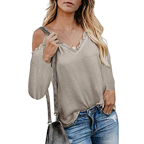 Bravetoshop 2019 Fashion Women's Sexy Off Shoulder Long Sleeve Shirt Strappy Ruffle V Neck Blouses Tops Khaki