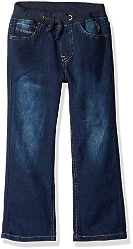 Washed Straight Leg Jeans - U.S. Polo Assn. Boys' Little Straight Leg Jean, Drawstring Waist Washed Indigo, 7