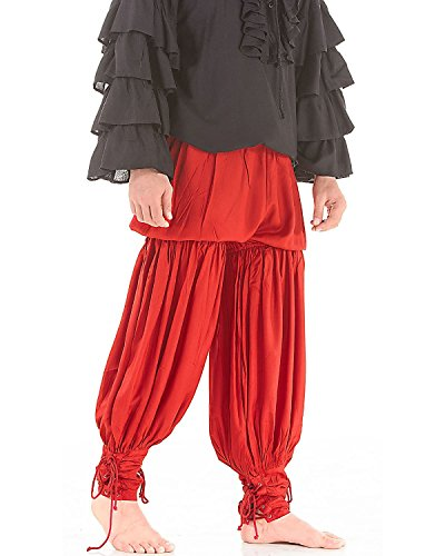 Medieval Renaissance Pirate Swordsman Pants Costume C1054 [Red] (Large)