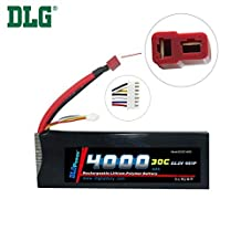 DLG 22.2V 4000mAh 6S 30C Burst 60C LiPO Li-Po High-Discharge Rate Powerful Battery with Dean's T Plug