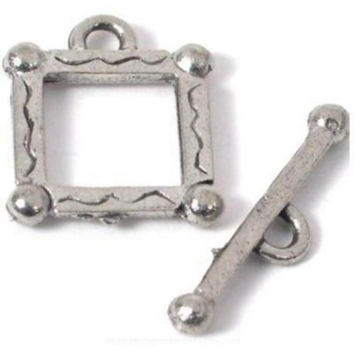 Bali Toggle Clasps Square Antique Silver Bracelets ()