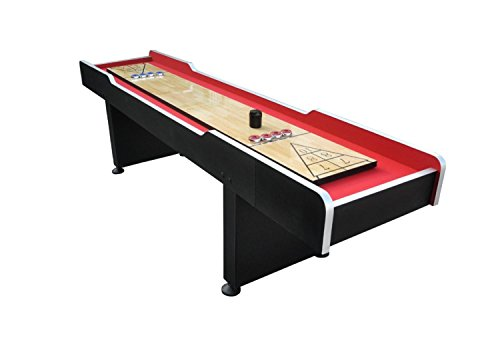 Pool Central Recreational Shuffleboard Game Table, Red/Bl...