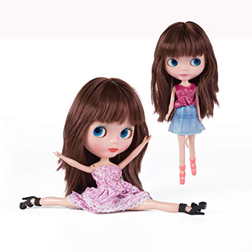 es 4 Color Changing,12 Inch Customized Dolls with Long Wigs Clothes Set,Compatible with Blythe ICY Dolly ()