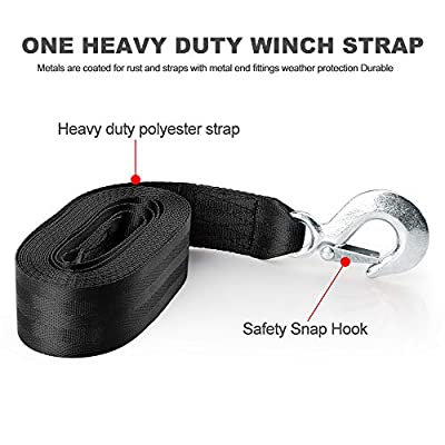 BANG4BUCK 2 Packs 2 Inch X 20 Feet Winch Straps Cable Tow Strap Lines with Durable Hooks for ATV Jet Ski Trailer Boat Cars - Breaking Strength 10000 lbs: Automotive
