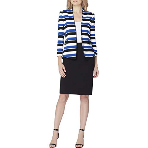 (Tahari ASL Women's Striped Skirt Suit (2, Royal/Black/White))