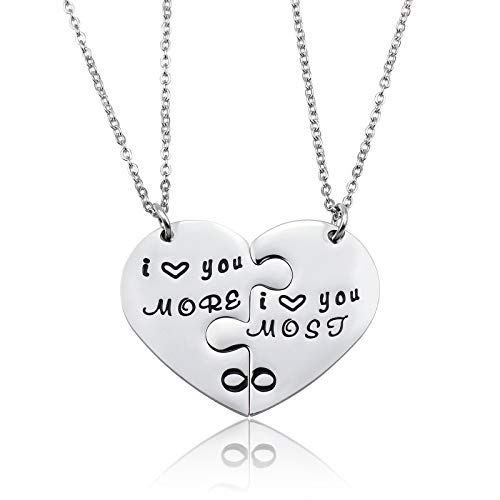 (LIUANAN i Love You More&i Love You Most Couples Necklace Set Stainless Steel Personalized Jewelry for Boy Girl)