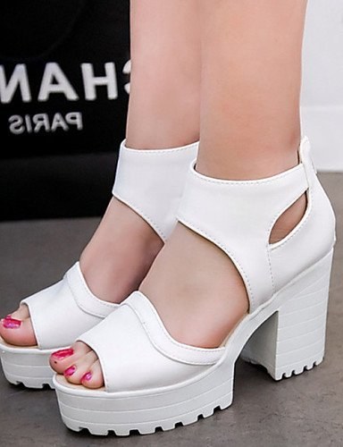 Casual White Platform Black Pink Dress ShangYi Shoes Open Leatherette Pink Career Heel Toe Office Sandals Women's Chunky amp; qSOfaSwXA4