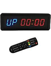 BTBSIGN - Timer a intervalli con timer e conto alla rovescia e cronometro con telecomando per casa, palestra, fitness, 3,8 cm, blu e rosso