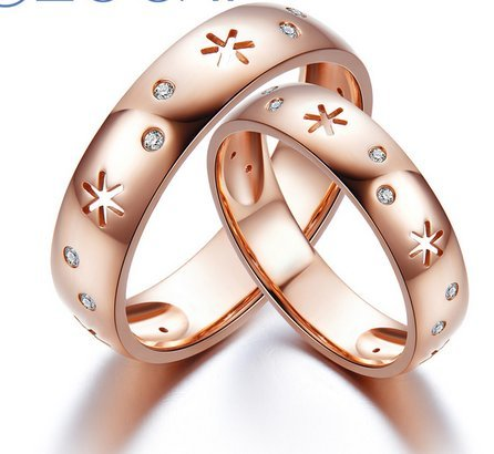 Gowe Buying Ice and Fire Série Mariage Bands Bague 0,05CT véritable diamant Bague Or rose 18K Bague Mariage Femme